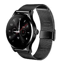 REDLEMON Smartwatch Reloj Inteligente con Monitor de Ritmo Cardiaco, Notificaciones en Pantalla, Contador de Pasos y Calorías, Correa de Acero Inoxidable, Pantalla Touch, Bluetooth 4.0, Compatible con iOS y Android