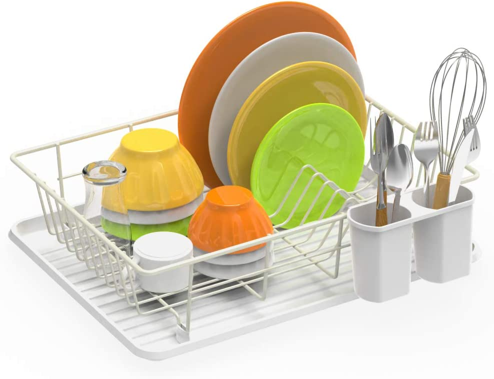 Dish Drying Rack, iSPECLE Dish Rack with Utensil Holder, Dish Drainer Drain Board for Sink Kitchen Counter Top, White Color Polished Anti Rust Dish Holder, 16.5 x 12.4 x 4.3 inch