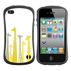 Paccase / Suave TPU GEL Caso Carcasa de Protección Funda para - Giraffe Artistic Yellow Minimalist Grey - Apple Iphone 4 / 4S