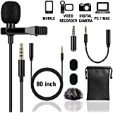 Lapel Microphone Lavalier Professional Grade Condenser Omnidirectional Noise Cancelling Clip-on Speaker Mic for Apple iPhone iPad Mac Android Smartphones Interview Video Recording (Single)