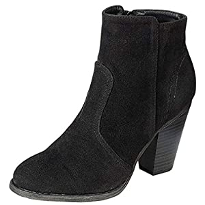 Breckelle's Heather-34W Bootie Boots,Black Suede,8