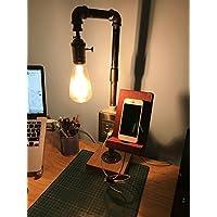 """Iluminación vintage lámpara """"Tesla"""" foco LED de 4 w ensamblada a mano en tubería de hierro galvanizado de 1/2 pulgada cargador USB para celulares steampunk industrial retro"""