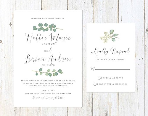 Eucalyptus Wedding Invitation, Rustic Wedding Invitation, Watercolor Greenery Wedding Invitation by Alexa Nelson Prints