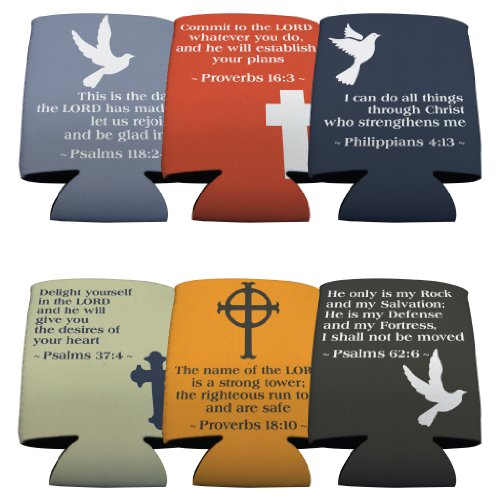 VictoryStore Can and Beverage Coolers: Bible Verse Can Cooler Set - 6 Designs - Set of 6. Bible Verse Koozie Set Holds 12 oz cans or 12-16 oz bottles by VictoryStore