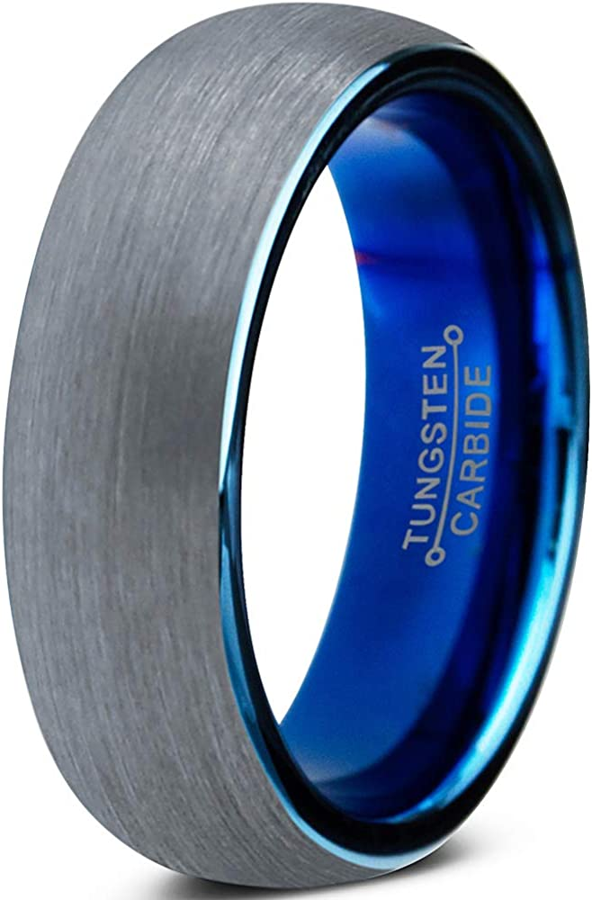 Charming Jewelers Tungsten Wedding Band Ring 6mm for Men Women Comfort Fit Blue Round Domed Brushed