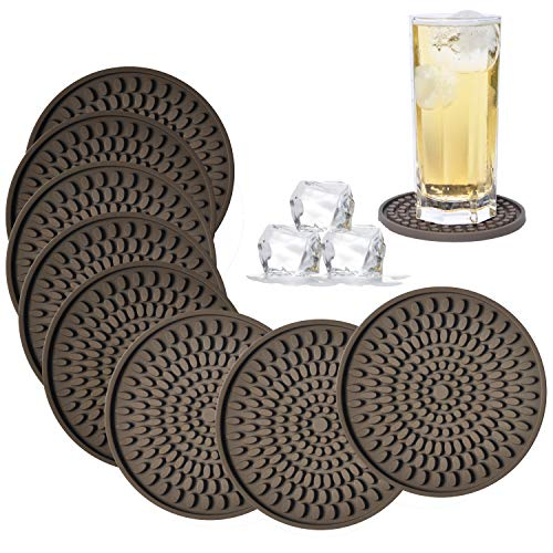 - Coasters for Drinks Absorbent, Rubber Brown Coasters Set of 8, Large Silicone Drink Coasters for Furniture Protection, Deep Tray 4.3 Inch Oval Shape Reusable Heat-Resistant Mat by Kindga