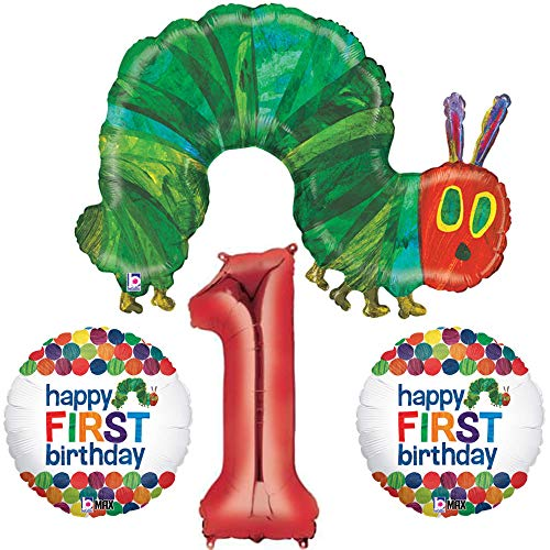 Very Hungry Caterpillar 1st Birthday Party Decoration Balloon Bundle, for One Year Old]()