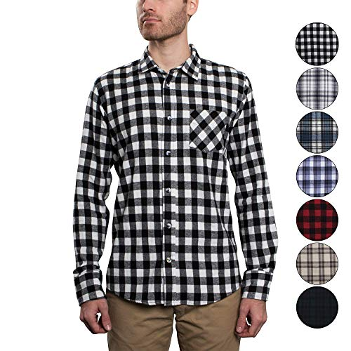 White Check Flannel Plaid Black (Men's Untucked Plaid Flannel Shirt: Slim Fit, Long Sleeve - Inca Black & White, Small - Made in The USA)