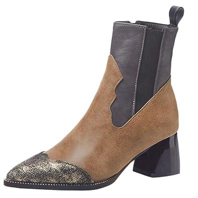 60f6d8a7daa8 OYSOHE Damen Retro Stiefel, Mode Farbabstimmung Spitz Schuhe Seitlichem  Reißverschluss High Heel Frauen Nackte Stiefel