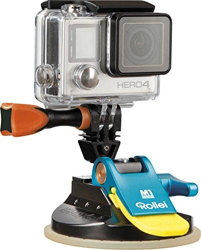 Rollei Actioncam Halterung M1 Suction Cup - professionelle Saugnapf Kamerahalterung (ultra stark) - für alle GoPro kompatiblen Actioncams, aus eloxiertem Aluminium - Blau