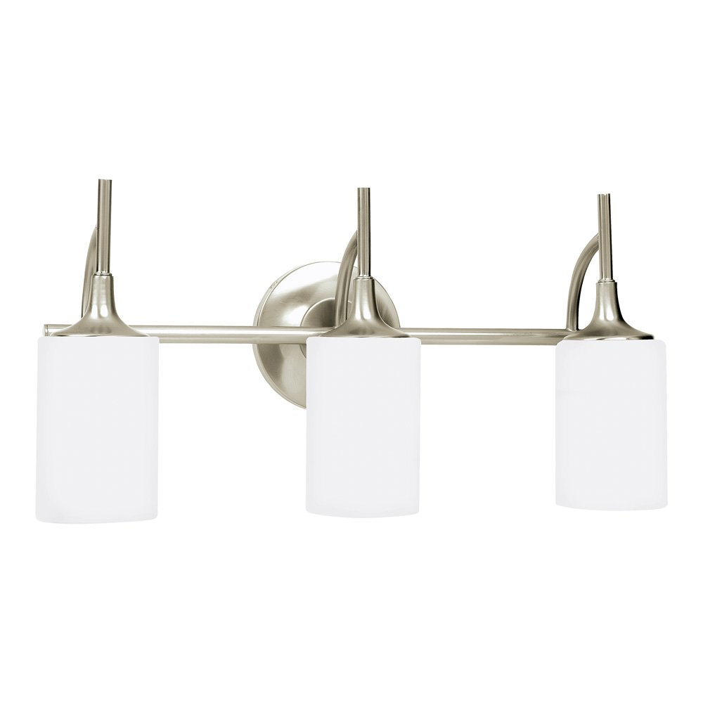 Sea Gull Lighting 44954-962 Stirling Three-Light Bath or Wall Light Fixture with Cased Opal Etched Glass Shades, Brushed Nickel Finish