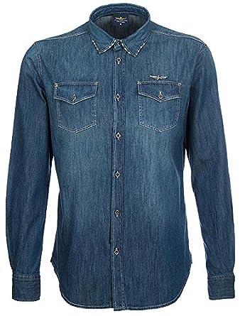 Aeronautica Militare Hombre Jeans Camisa Camicia m.l. manga larga ...