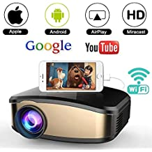 Wifi Movie Projector, WEILIANTE 50% Brighter LED Portable Mini Video Projector, WIFI Directly Connect with iPhone Android Device (1080p Supported) Support USB HDMI VGA AV