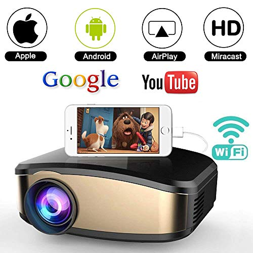 Wifi Movie Projector, WEILIANTE 50% Brighter LED Portable Mini Video Projector, WIFI Directly Connect with iPhone Android Device (1080p Supported) Support USB HDMI VGA AV by WEILIANTE