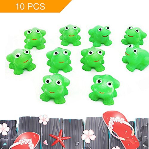 LovesTown Bath Toy, 10 Pcs Rubber Frog Tub Toy for Baby Bath Shower Birthday Party (Frog Bath)