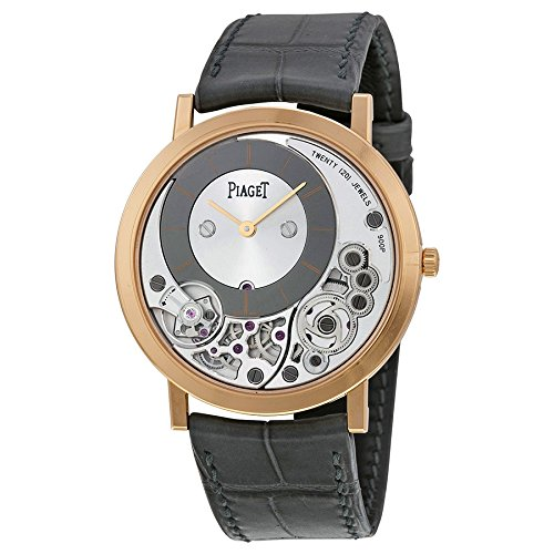 Piaget Altiplano Silver and Black Skeleton Dial 18kt Rose Gold Gray Leather Mens Watch GOA39110