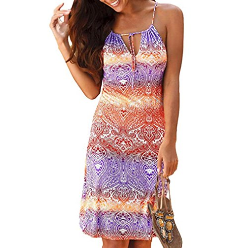 GoodLock Clearance! Women Halter Neck Boho Print Dress Sleeveless Casual Mini Beachwear Dress Sundress (Multicolor, X-Large)