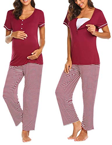 Ekouaer Cute Maternity Pajamas Hospital Labor and delivery pj Set for Women Motherhood (Wine Red XXL)