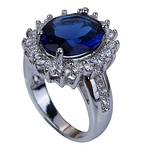 YAZILIND Jewelry Unique Design Silver Plated Sapphire Women Ring ladys gift Size