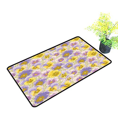 gmnalahome Front Door Mat for Indoor Outdoor Entry Rug Pansy Flowers Garden Botanical istic Pattern Lavander Lilac Yellow Keep Your House Clean W23 x H17 INCH