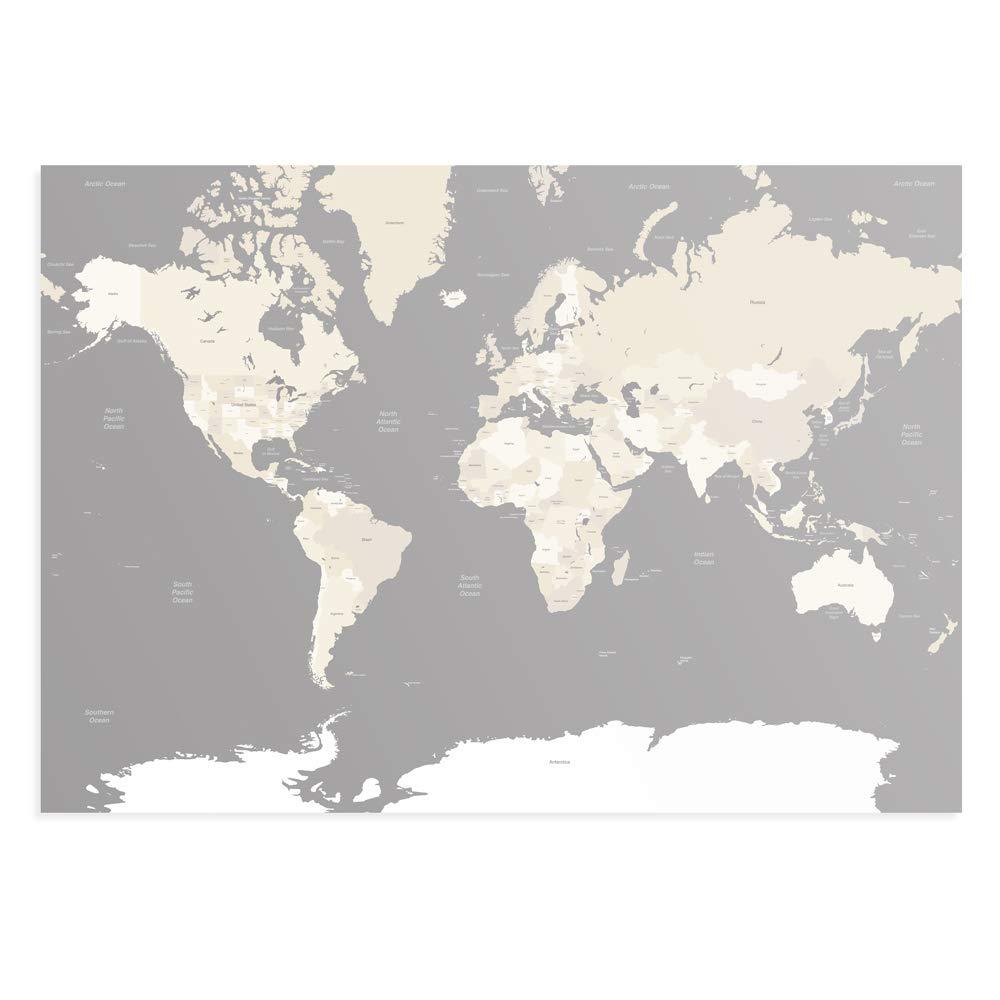 Enorme A0 gris y colores tierra mundo mapa del mundo tierra viaje Póster cac395