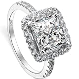 EVER FAITH 925 Sterling Silver Princess Cut Classical .79ct CZ Engagement Ring Clear - Size 7