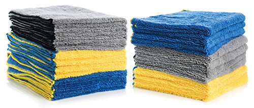 (Cleaning Solutions 79106-24 PK Blue/Yellow/Gray 24 Pack XL Microfiber Towels (24