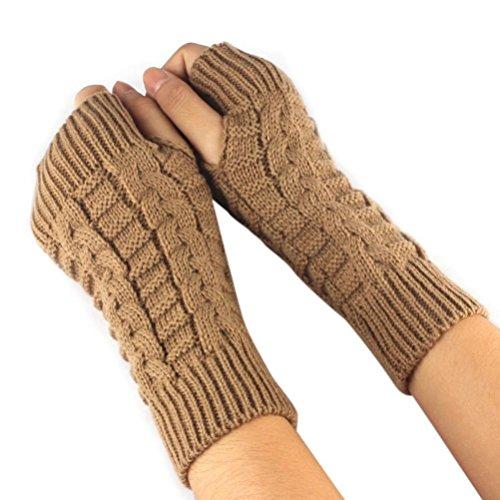 ManxiVoo Fashion Knitted Arm Fingerless Winter Gloves Unisex Soft Warm Mitten (Brown) - Rainbow Net Fingerless Gloves