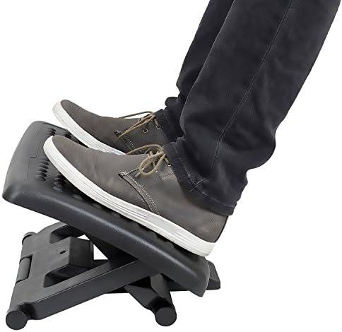 Mount-It Ergonomic Under Desk Footrest Massaging Foot Rest Support Tilting Footrest with 3-Level Height Adjustment Under Chair Office Footrest