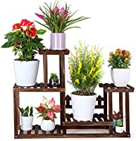 FOLDIFY Pine Wood Plant Stand Indoor Outdoor Multiple Flower Pot Holder Shelf Rack Higher and Lower Planter Display...