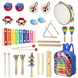 Sokoni Toy Wooden Kids Percussion Educational Musical Instrument Set for Preschool Toddlers and Children with Xylophone and Triangle - with Storage Backpack and Activity eBook BONUS (BLUE)