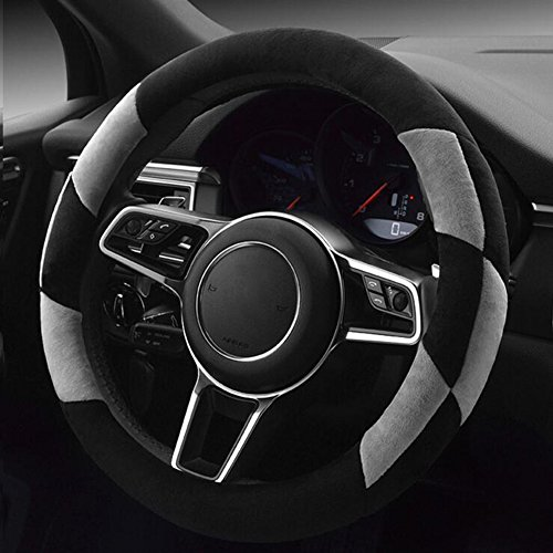 Short Shock - QC Car Steering Wheel Cover Short Plush Flocking Shock Absorption Massage 38cm Universal Handle Cover, black gray, 38cm