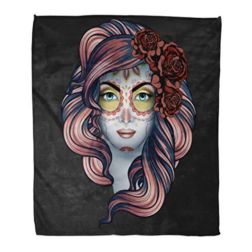 Semtomn Decorative Throw Blanket 60 x 80 Inches Black Woman Calavera Makeup Dia De Los Muertos Bride Warm Flannel Soft Blanket for Couch Sofa Bed ()