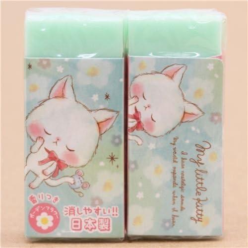 (cute light green cat flower eraser from Japan) - cute light green cat flower eraser from Japan