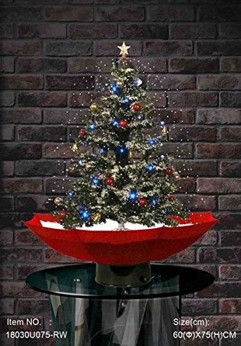 LEKEEZ TM New Xmas Christmas Snowing Tree With Umbrella Shaped Base with Lighting and Decorations