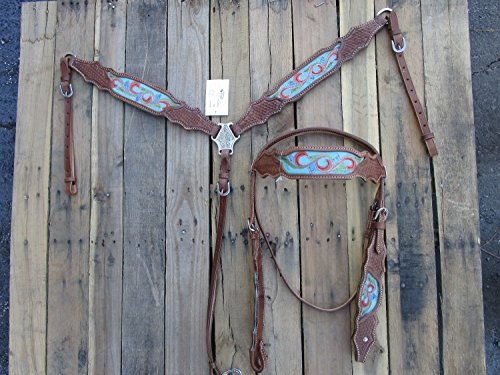 WESTERN HORSE HEADSTALL BREAST COLLAR SET TURQUOISE BLUE RED PAINTED SHOW BASKET WEAVE TOOLED LEATHER BARREL RACING - Tan Breast Tex Collar