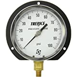 "Trerice 500XB4502LA110 Industrial Gauge, 4.5"" Dial, 0 to 100 psi, 1/4"" NPT Connection, Lower Mount"