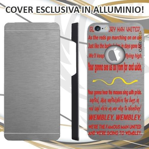 CUSTODIA COVER CASE CORO MANCHESTER UNITED ROSSO PER IPHONE 6 ALLUMINIO TRASPARENTE