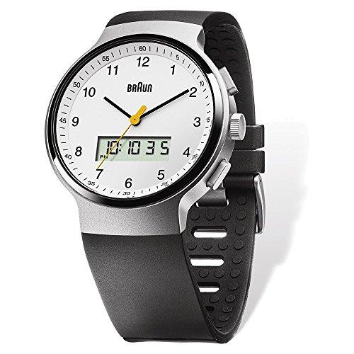 Mens Braun White Dial Black Poly Band Analog/Digital Watch