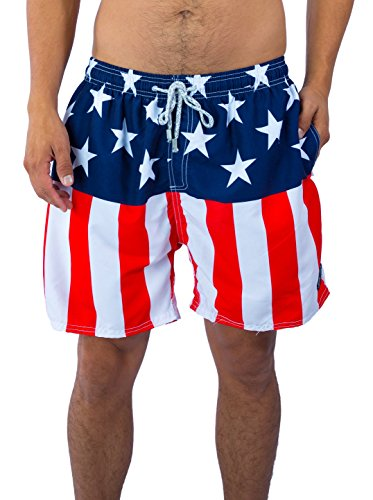 Exist Men's Patriotic USA American Flag Stripes And Stars Quick Dry Beach Board Shorts Swim Trunks (2X-Large) - Confederate Flag Swimwear