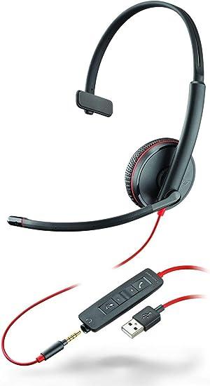 USB Conectividad Universal y Cancelaci/ón de Ru/ído Plantronics Blackwire C5210 3,5mm Negro Auricular Monoaural Profesional De Oficina