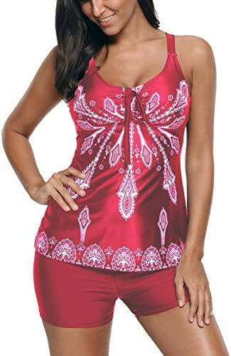 Eternatastic Women's Retro Paisley Printed Tankini Swimsuit with Boyshorts Swim Tank Top