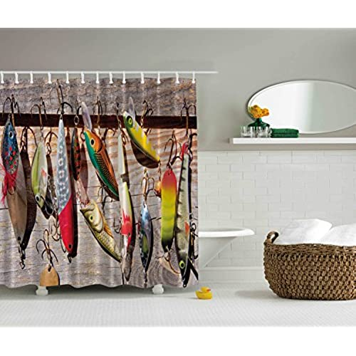 Fish On Hooks Fishing Lure Rods Fisherman Gifts Special Bathroom Impressive  Design For Fisherman Creative Exceptional Decoration Fish Theme Nautical  Shower ...