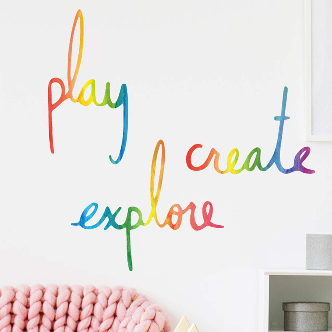 Inspirational Wall Decor Quotes for Living Room – Play Create Explore – Wall Decor for Bedroom Classroom Playroom Nursery Girls Boys Room Wall Decals Decorations