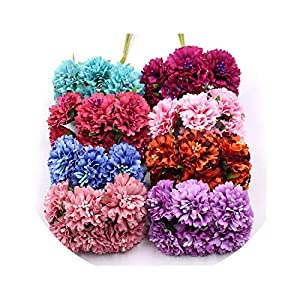 be-my-guest Marigold 6pcs/Bunch 3.5cm Mini Daisy Flower Bouquet Artificial Flower Wedding Decoration DIY Craft Home Decoration Accessories 68