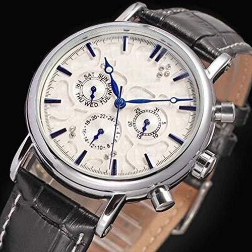 BEWITCHYU Practical Wristwatches Watch Three-Eye Multi-Function Automatic Mechanical Watch Men 's Casual Belt Watch Circle Men Decorative Watch BraceletWhite