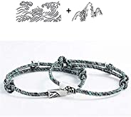 2Pcs Couple Rope Braided Bracelet,Adjustable Braided Distance Magnetic Mutual Attraction Friendship Bracelet L