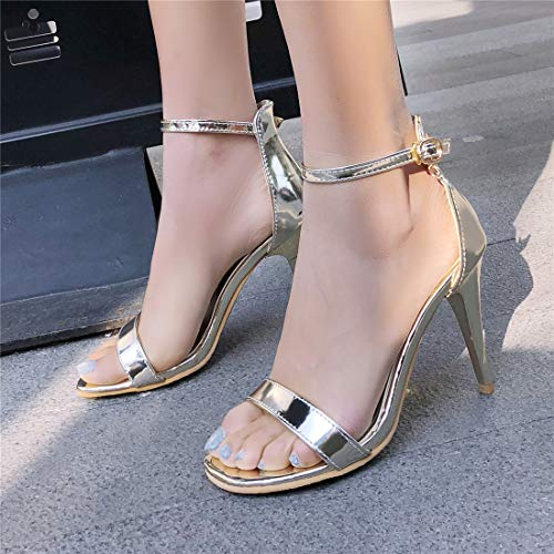 ouvertes talon chaussures sandales métallique d'été avec élégante femme Vitalo or sangle cheville haut OgqHSwEWT