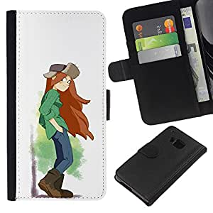 ZCell / HTC One M7 / Tomboy Girl Long Hair Art Painting Brown Boots / Caso Shell Armor Funda Case Cover Wallet / Tomboy Chica largo pelo Arte Pin