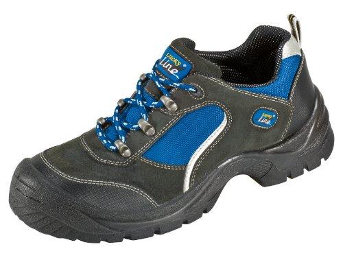 "S1 ""Göhren"" - Zapato de Seguridad con Aspecto de Deportiva de Piel de Gamuza con Tapa de Acero con Suela Antideslizante PUR - negro / azul, 44 negro / azul"